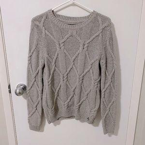 Teenie Weenie Cable Knit Crew Neck Pullover Sweater, Gray Size Medium
